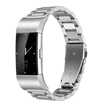 Fitbit Charge 2 Wrist Band,Shangpule Stainless Steel Metal Replacement  Smart Watch Band Bracelet with Double Button Folding Clasp for Fitbit  Charge 2