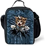 FOR U DESIGNS Cute Cat Print Back to School Supplies Thermal Lunch Box for Girls
