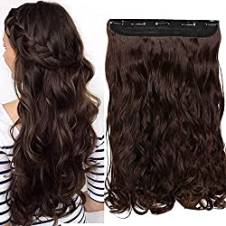 "S-noilite 17-27"" 125G Thick Straight Curly Wavy One Piece Clip in Hair Extensions Any Color 5 Clips Natural Hairpiece(24""-Curly, Medium Brown)"