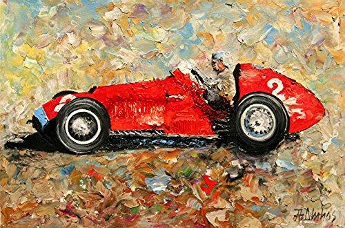 Ferrari 375 Ascari Vintage Grand Prix Formula 1 Racing Car Art Limited Edition, Signed and Numbered Print Andre Dluhos