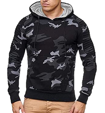 761b8728 X-Future Mens Active Stud Details Slim Camo Pullover Sweatshirt ...