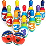 SUHOO Kids Bowling Play Set, Indoor & Outdoor Toys Lightweight Foam Ball Toys with 10 Pins and 2 Bowling Balls for Toddlers Children Boys & Girls Ages 3-6 Years Old