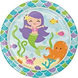 """Creative Converting 317264 Disposable Mermaid Friends Round Paper Plates, 8.75"""", Multicolor, 8ct"""