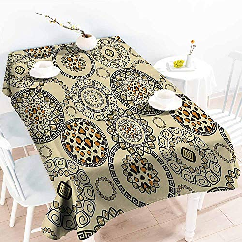 HRoomDecor Multifunctional Table Cover,Animal Print,African Safari Patterns Cheetah Skin Print Wild Theme Neutral Color Decoration,Cinnamon and Beige 70