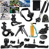 EEEKit 9in1 Kit for Sony AS10/AS30/AS100/AS200,Ion Air Pro 2/3 Wifi Action Sport Camera,Bike/Helmet/Selfie Pole/Tripod/Car/Shoulder/Sun Visor/Wrist/Floaty Grip Mount