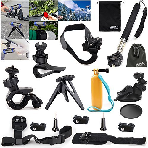 Eeekit 9In1 Kit For Sony As10 As30 As100 As200 Ion Air Pro 2 3 Wifi Action Sport Camera Bike Helmet Selfie Pole Tripod Car Shoulder Sun Visor Wrist Floaty Grip Mount