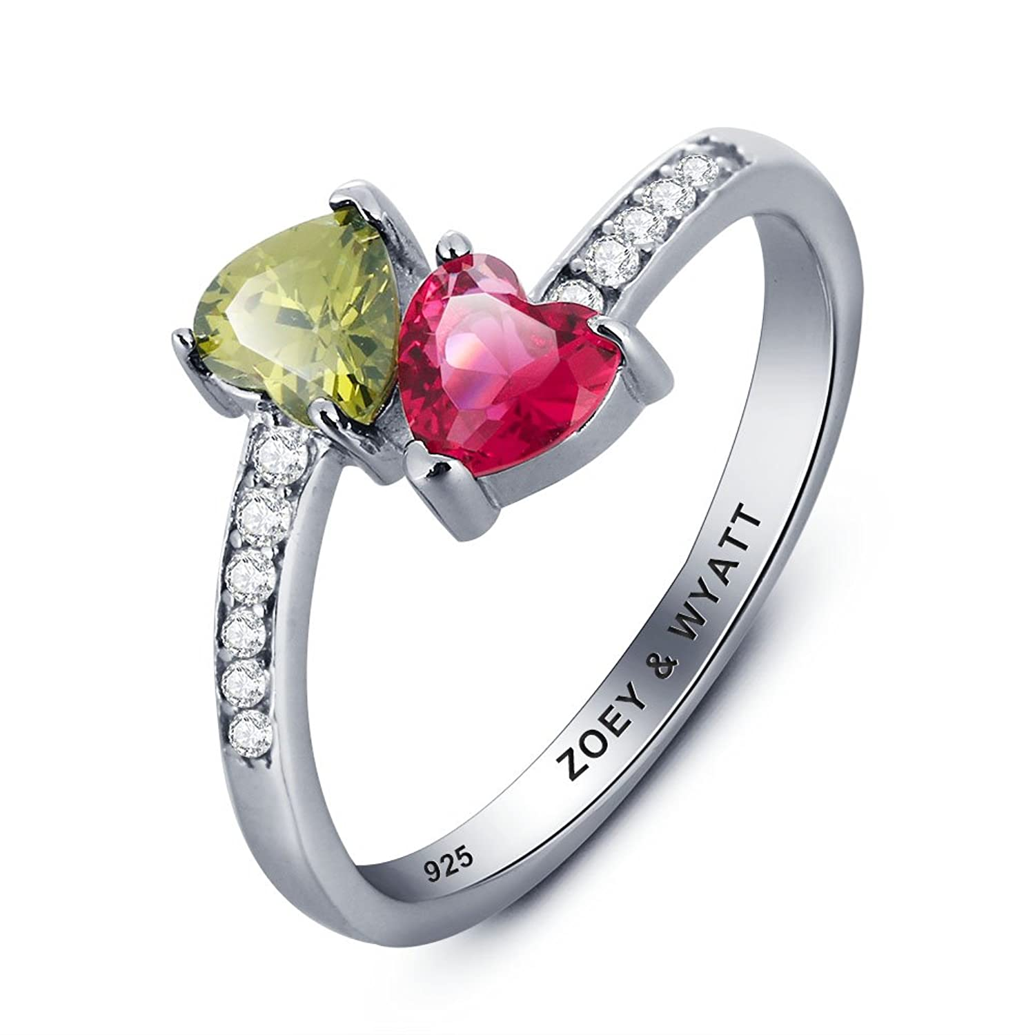 Amazon.com: Personalized Promise Ring 2 Birthstones and 1 ...