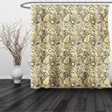 HAIXIA Shower Curtain Paisley Traditional Asian Pattern with Flowers Leaves with Stripes Artwork Queen Full Brown Black and White