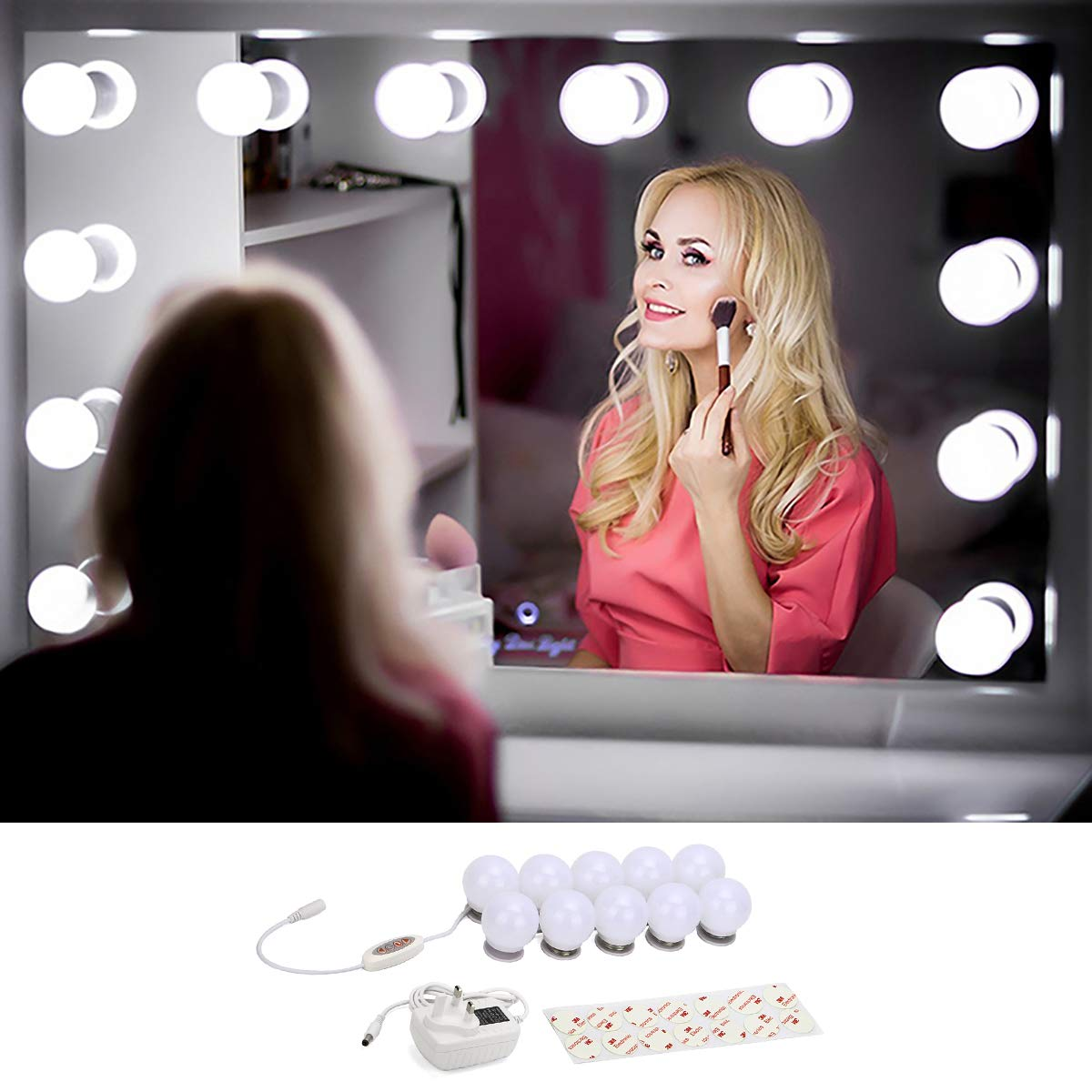 495cm Adjustable Cable Length Hollywood Style LED Vanity Mirror Lights Kit for Dressing Table 10 Dimmable Makeup Mirror Light Bulb with 5 Levels Color Temperature Warm White to Cool White