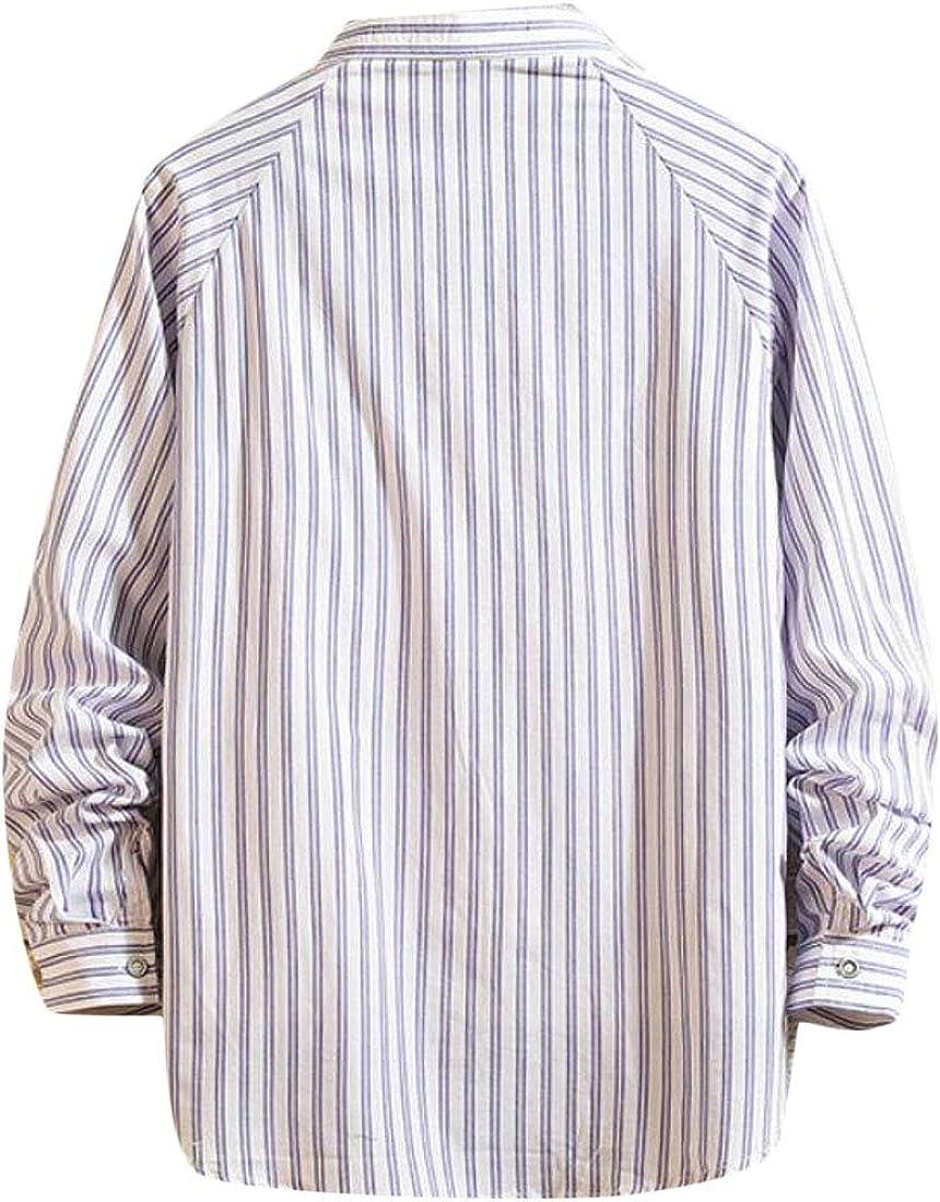 Spirio Men Stripe Casual Loose Lapel Cotton Long Sleeve Button Up Shirt