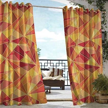 Triangle Geometric Window Curtain Drape Panel Balcony Light Blocking Cloth Red