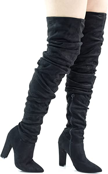 cee1fdd7ddd4 Madam18 Black Over Knee Thigh High Slouch Boots On Chunky Block Heel ...