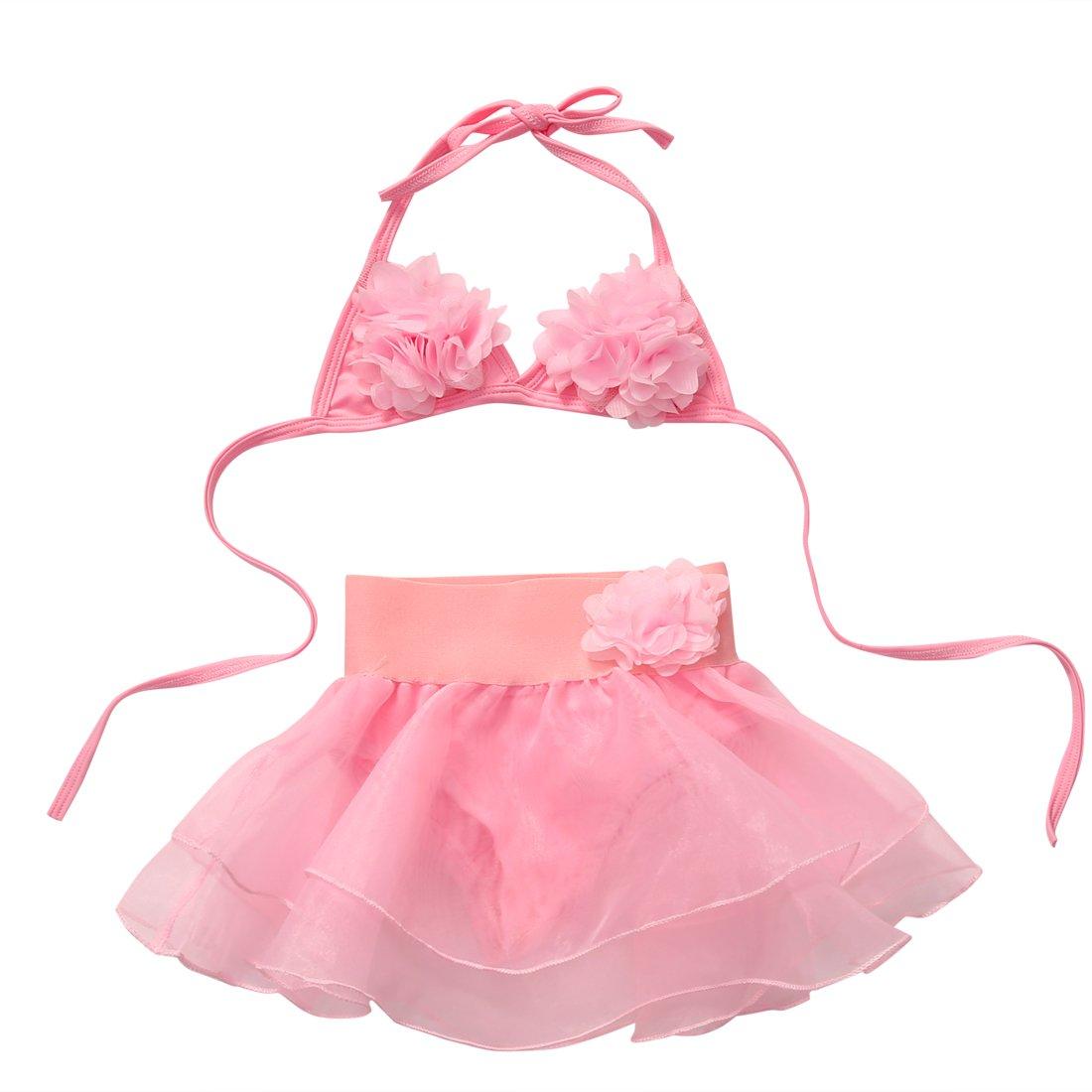 Carolilly Maillot de Bain B/éb/é Fille//Fillette Bikini Florale Enfant de 2 Pi/èces Top Triangle Culotte Jupe en Tulle