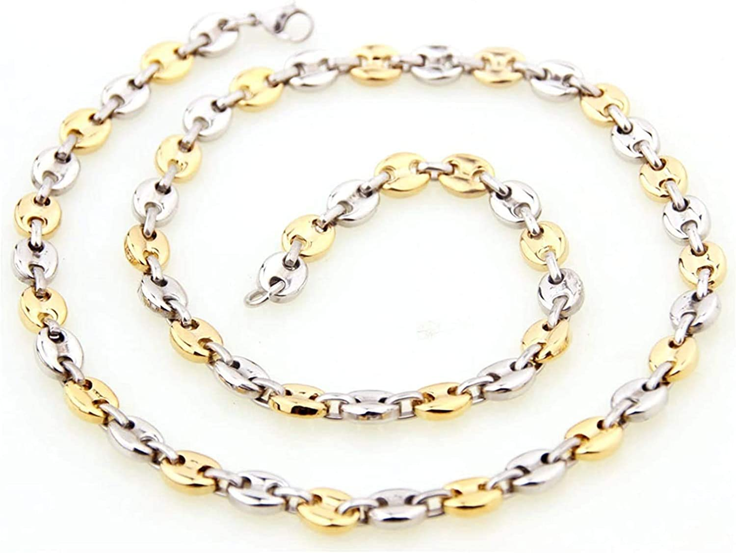 LOPEZ KENT Stainless Steel Necklace for Men Oval Chain Silver Gold
