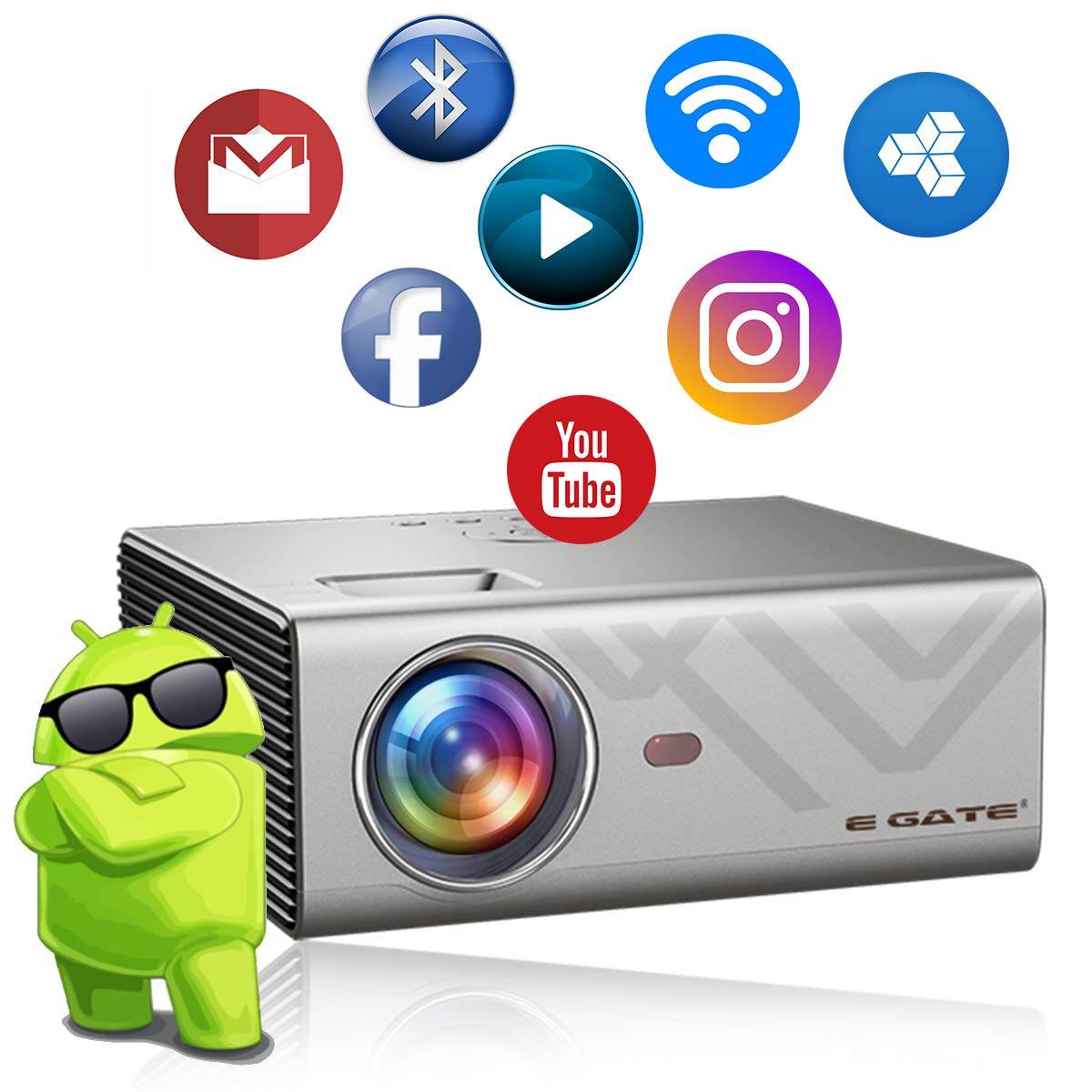 Egate K9 Android LED 720p 2400 Lumens HD Projector with 4D