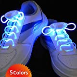 Flammi LED Shoelaces Light Up Shoe Laces with 3 Modes in 5 Colors Disco Flash Lighting the Night for Party Hip-hop Dancing Cycling Hiking Skating -New Gerneration