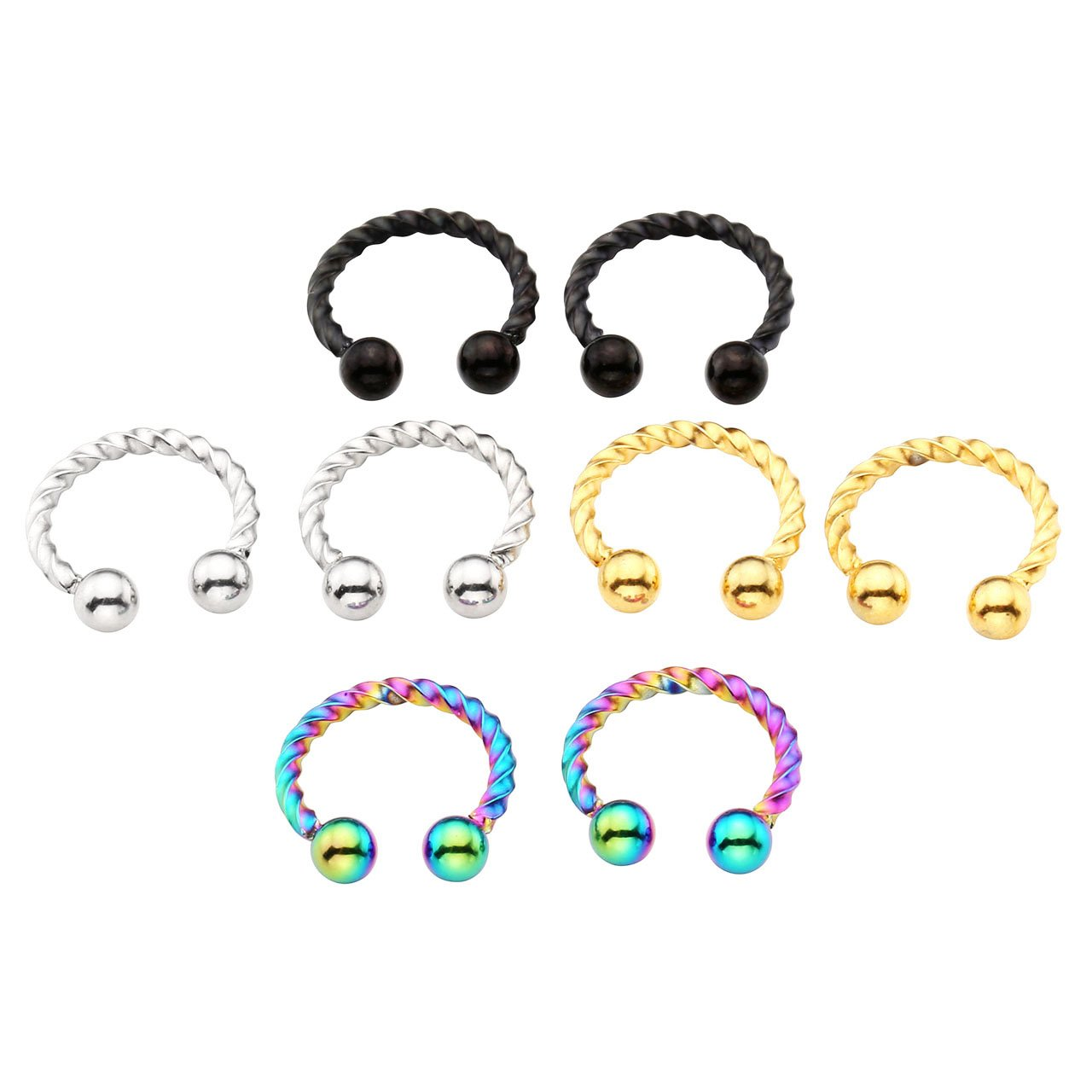 PiercingJ 2-8pcs Stainless Steel Clip On Fake Piercings Unscrew Ear Nose Cartilage Septum Rings Body Jewelry CBR Horseshoe