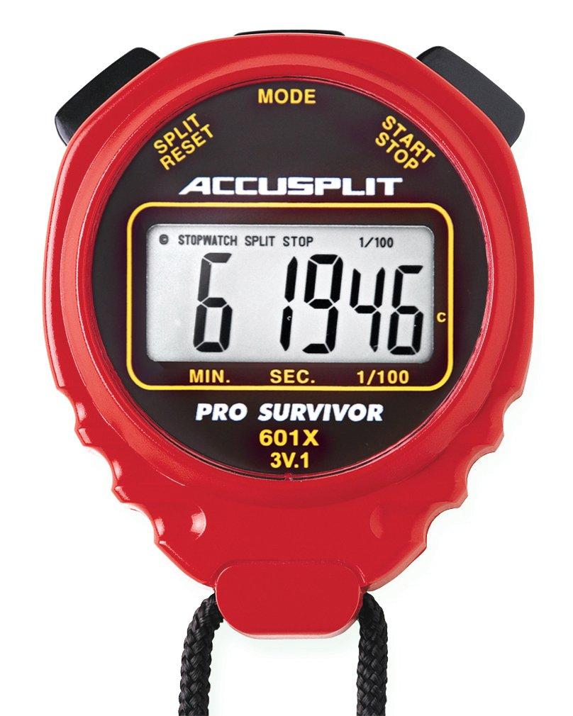 ACCUSPLIT Pro Survivor - A601XBK Stopwatch, Clock, Extra Large Display (Red)