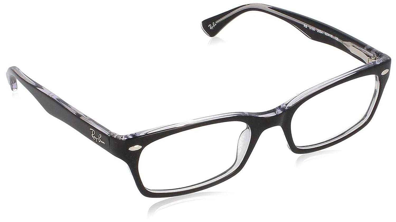 30f9448abc Amazon.com  Ray-Ban Women s 0rx5150 No Polarization Rectangular  Prescription Eyewear Frame Top Black on Transparent 52 mm  Clothing