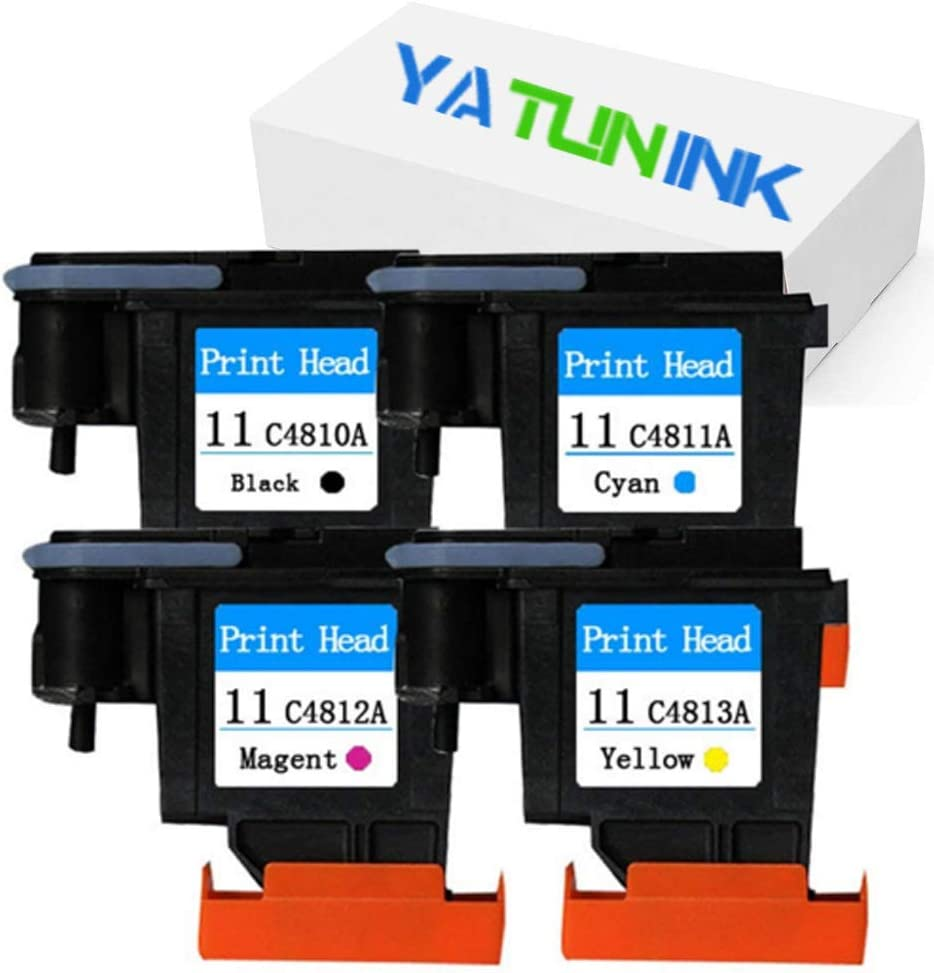 YATUNINK Remanufactured Printer Head Replacement for HP 11 Printhead 11 Printer Head Black Cyan Magenta Yellow for Designjet 510 Designjet 1067 Designjet 510 Designjet 610 Printer (4 Pack)