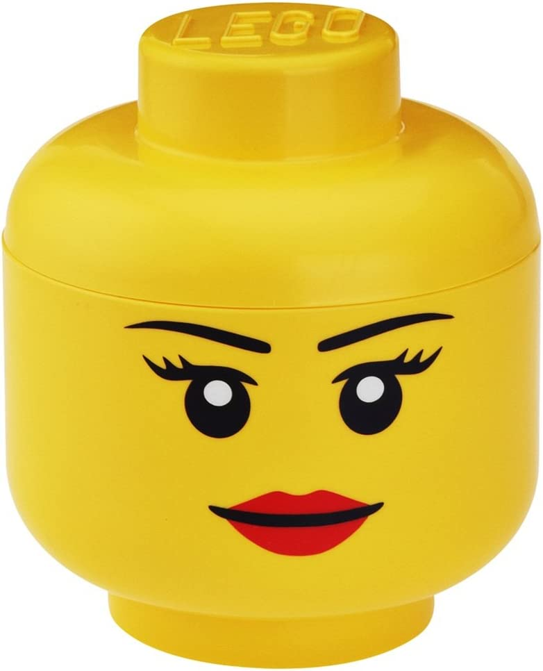 LEGO Storage Head, Large, Girl, 9-1/2 x 9-1/2 x 10-3/4 Inches, Yellow