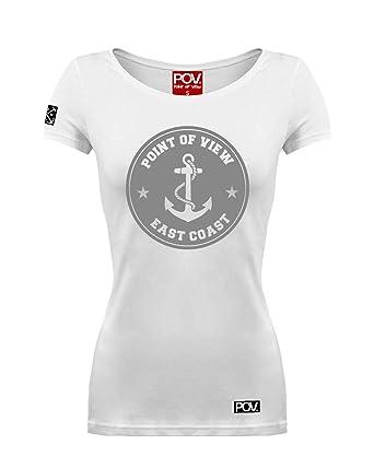 POV Cooles Damen T-Shirt Ahoi Anker Fashion-Print, Farbe:Weiß,