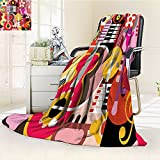 Music Custom Blanket by Nalohomeqq Complex Graphic with Various Musical Properties Icons Keyboard Festival Piano Party Art Design Accessories Extralong Multi