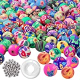 Quefe 300Pcs Round Fimo Polymer Clay Beads Assorted Colorful Pattern Handmade Loose Beads with 50 Pcs Spacer Beads and 1 Roll Crystal String for Jewelry Making (10mm)