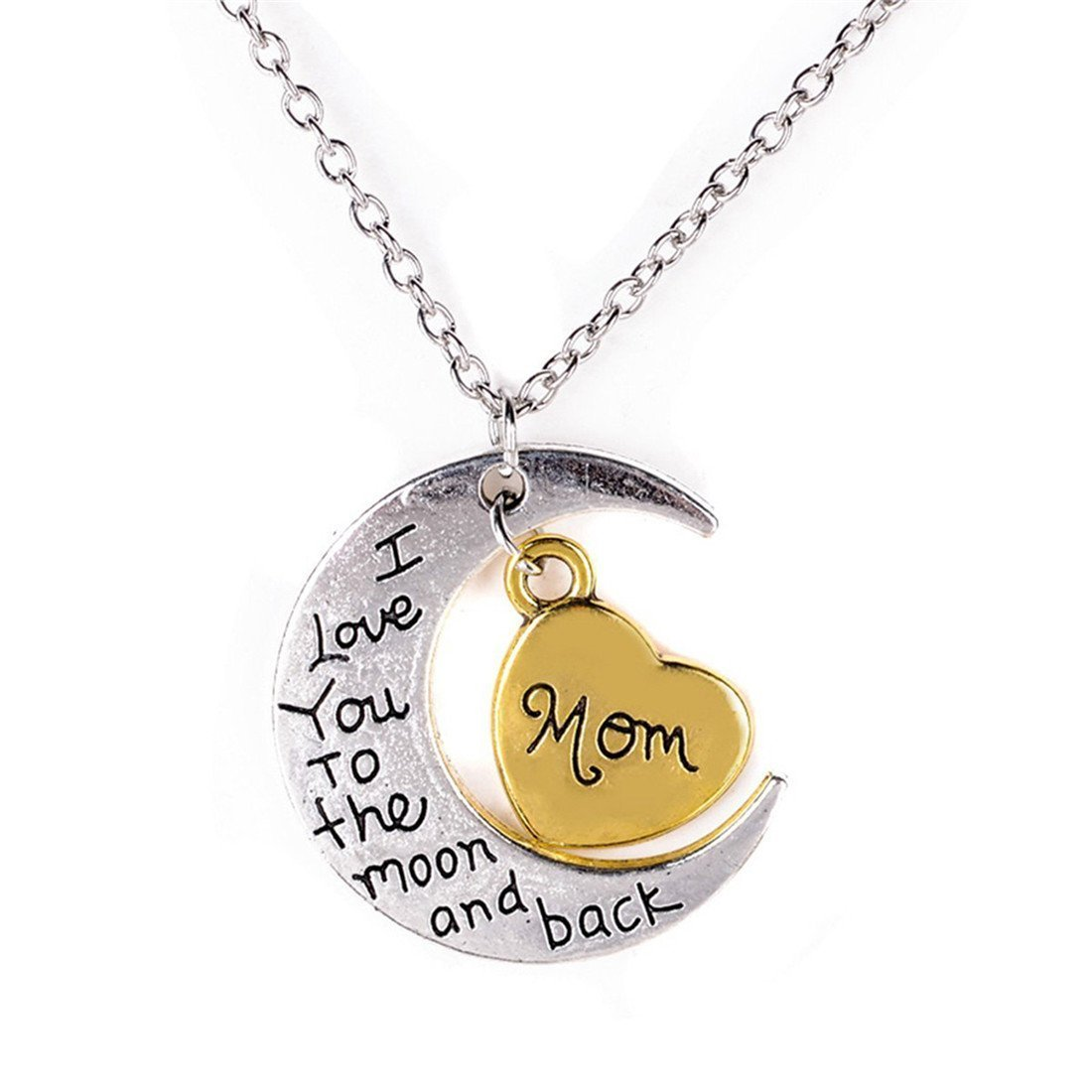 I Love You to the Moon And Back Pendant Necklace For Mom Silver Tone And Gold Tone (i love you mom)