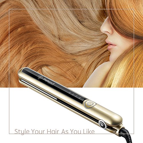 Hepburn Flat - Ceramic Hair Straightener,Curling Flat Iron for Hair Styling: 2 in 1 Tourmaline Flat Curler Iron All Hair Types with Adjustable Temperature 230°F-450°F, 1 Inch, Gold