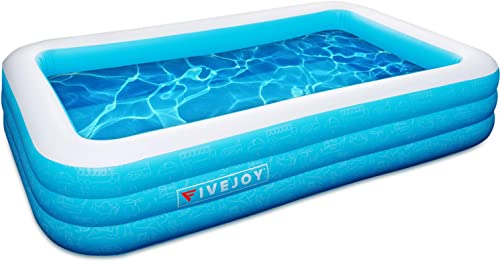 FiveJoy Family Inflatable Swimming Pool, Rectangular Kiddie Pool for Kids, Adults, Babies, Toddlers, Outdoor, Garden, Backyard, Ages 3 , 120 X 72 X 22
