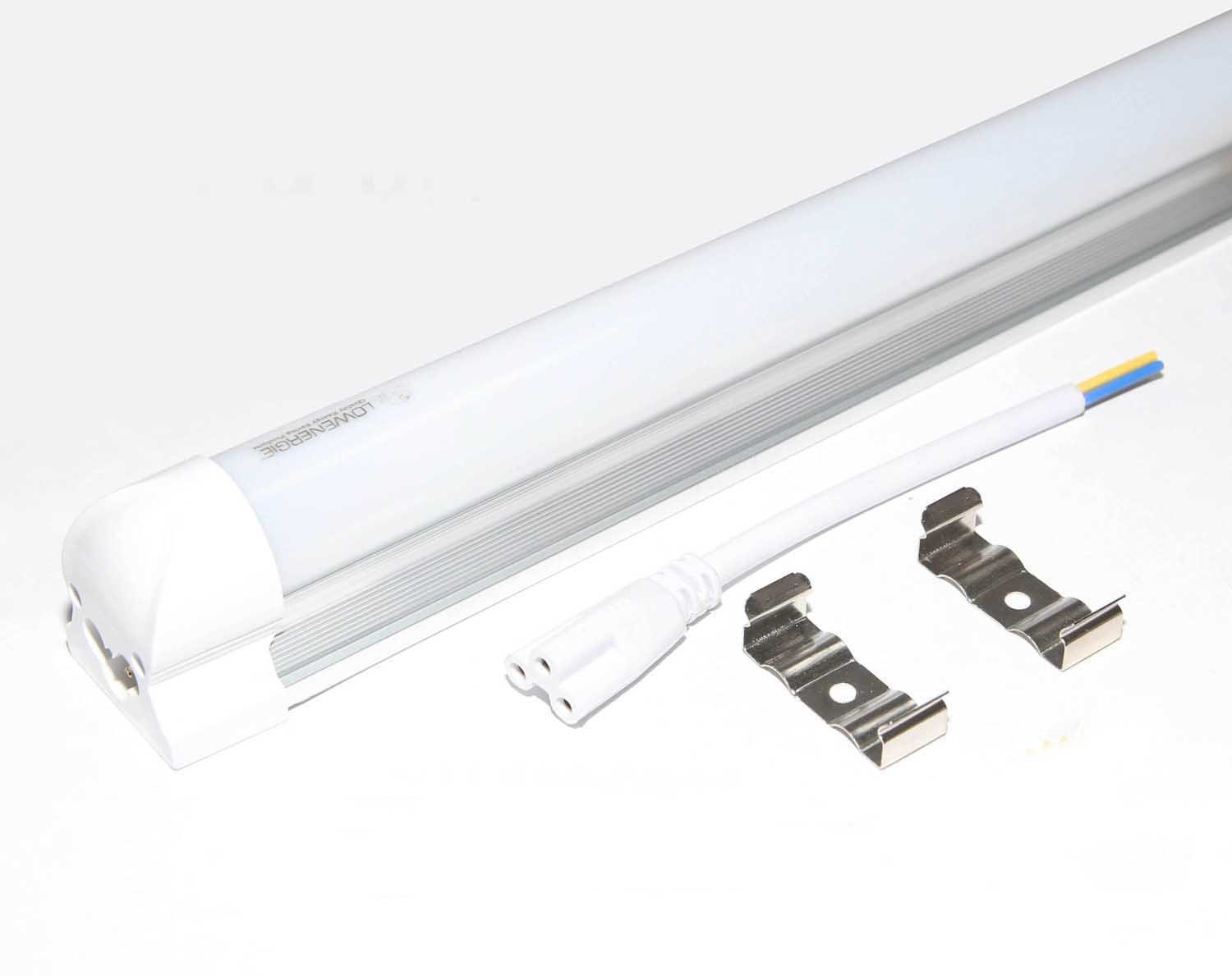 900mm 3ft Integrated LED Tube Light, 4000k Neutral White, Frosted Cover, Energy Saving, Fluorescent Lighting Replacement, Direct Ceiling Mounting Lowenergie