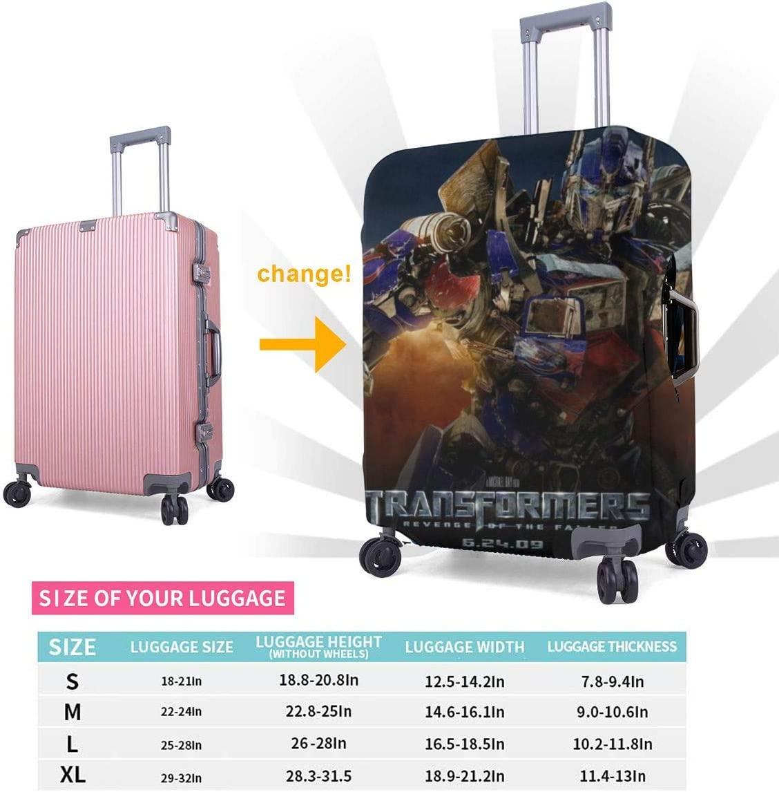 Tran/_Sformers Revenge Suitcase Protector Travel Luggage Cover Fit
