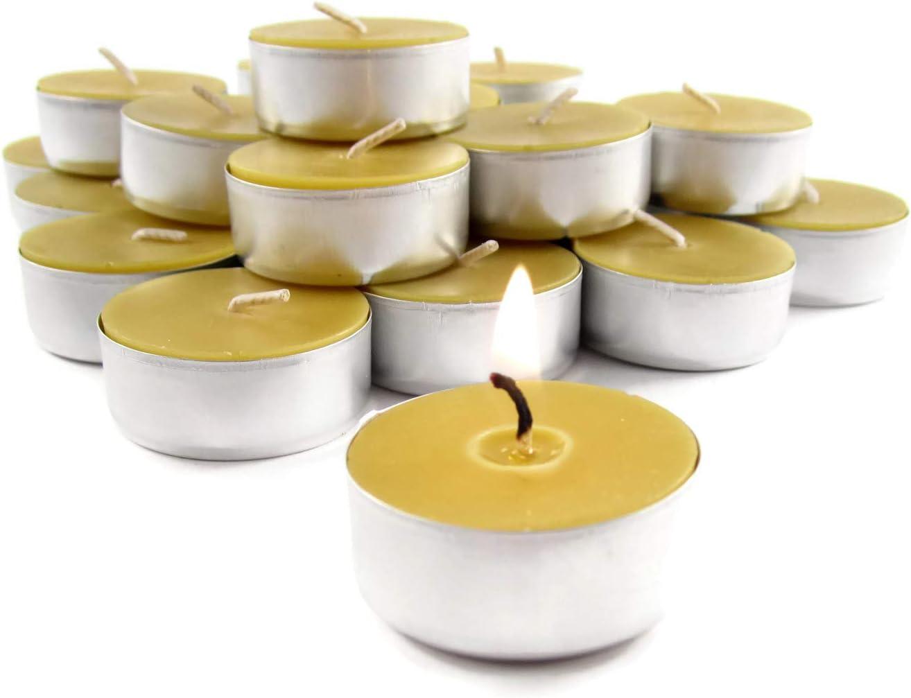 Natural 100/% BEES WAX set of 3 tea lights with tin cup