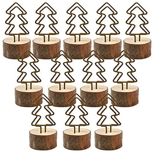 - Wooden Base Place Card Holder, Amytalk 12 Sets Real Wood table numbers card holders With Christmas Tree Metal Shape, Table Card, Photo Card, Menu Card, Name Card Holder Memo Clips Mem (Christmas Tree)