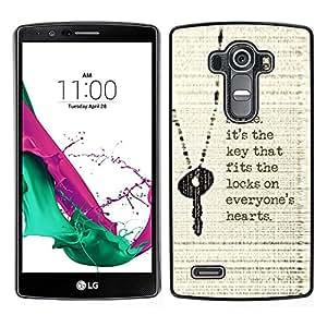 LECELL--Funda protectora / Cubierta / Piel For LG G4 -- Sonrisa Cita clave Corazón inspiradora motivación --