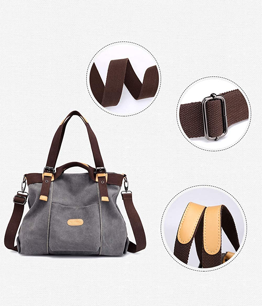Casual Tote Daily Purse Cross Body Satchel Top handle Shopping Bags for Women Vintage Canvas Hobo Shoulder Bag