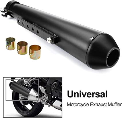 Oeyal Shorty Slip on Exhaust Muffler Stainless Steel Muffler Exhaust Pipe Motorcycle Style A, Silver