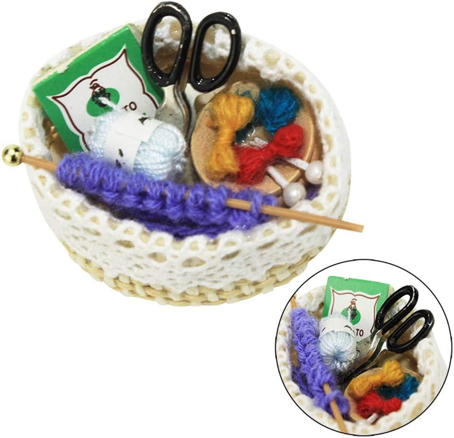 1:12 Dollhouse miniature accessories mini cloth wool basket simulation model EW