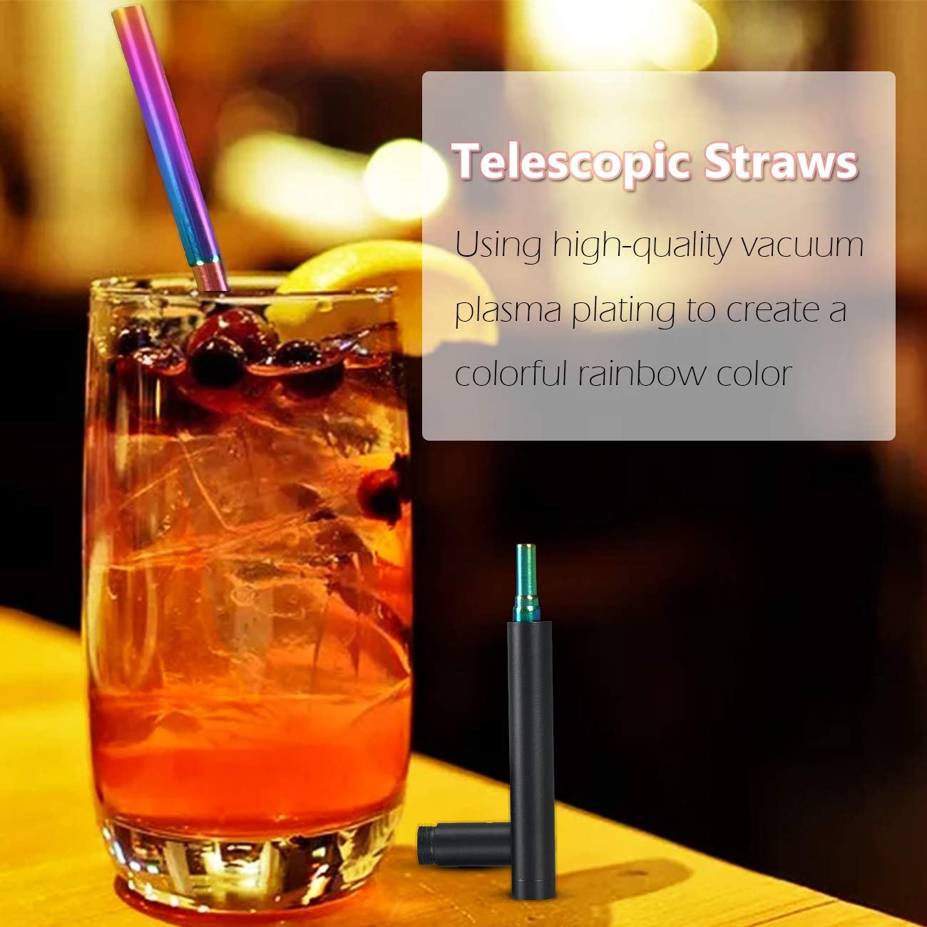 Multicolor Keychain Clips and Storage Case Chomang Stainless Steel Collapsible Drinking Straw Portable Travel Metal Straw with Cleaning Brush Reusable Telestopic Straws