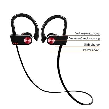 Auriculares Bluetooth deportivos, auriculares inalámbricos con Bluetooth, IPX7 resistente al agua HD estéreo a