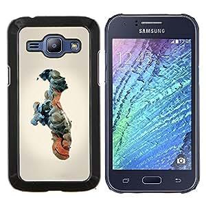 KLONGSHOP // Cubierta de piel con cierre a presión Shell trasero duro de goma Protección Caso - Nubes Significado Hombre Humanos - Samsung Galaxy J1 J100 //