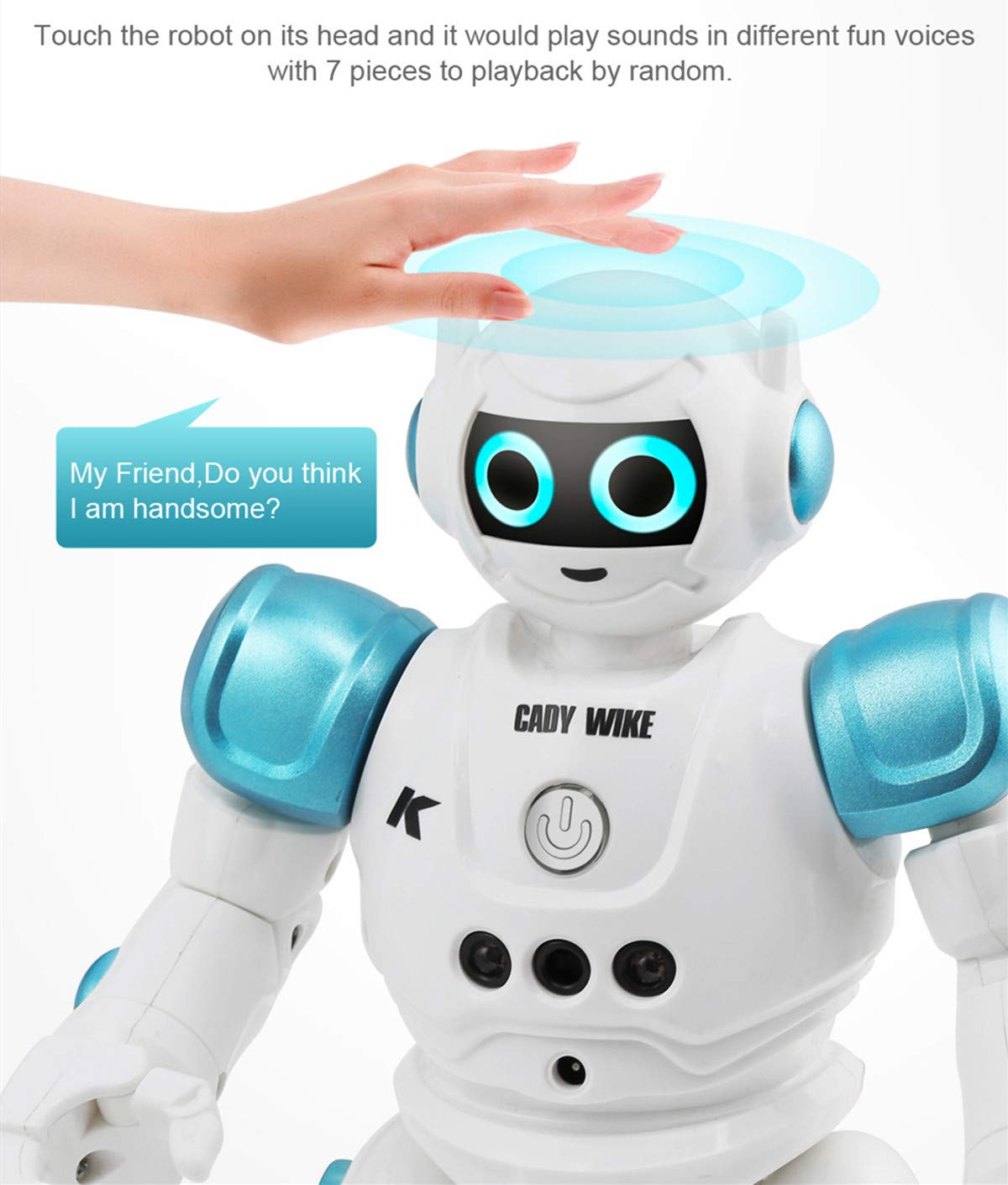 WEECOC Smart Robot Toys Gesture Control Remote Control Robot Kids Toys Birthday Can Singing Dancing Speaking Two Walking Models (Blue) by WEECOC (Image #3)