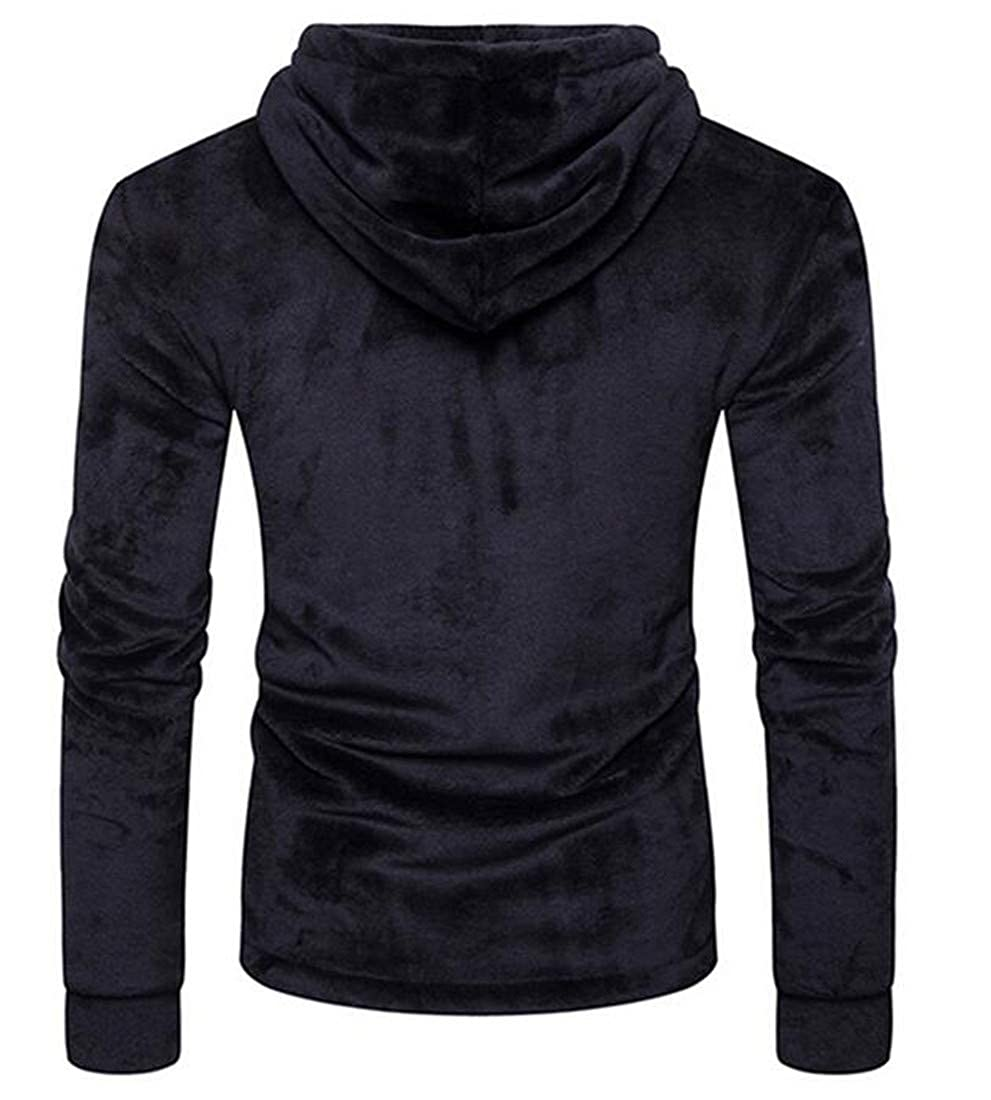 Hajotrawa Men Fashion Warm Toggle Hooded Pullover Velour Sweatshirts Jacket