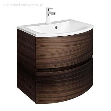 Bauhaus Rippen 600 Mm Wand Montiert Badezimmer Unterschrank Schrank Schubladen Mineral Marmor Waschbecken In