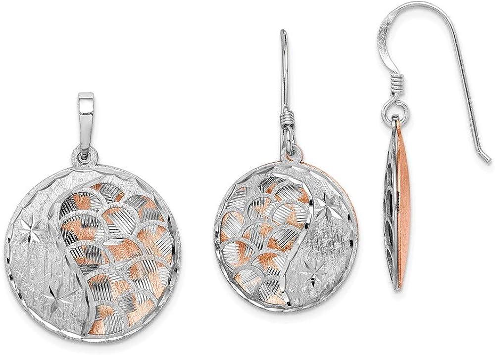 Saris and Things 925 Rose-Tono de Corte de Diamante del Corte del Laser Chapado en rodio Pendiente y Colgante Conjunto