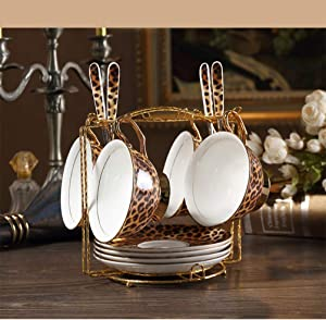 Europe Classic Leopard Print Bone China Coffee Cups and Saucers Coffee Cup Dish Set Hand-Painted Golden Rim Home Party Tea Cup,Four