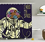 Ambesonne Outer Space Decor Shower Curtain by, Floral Cosmonaut Man in Spacesuit Solar System Alien Comet Cartoon Image, Fabric Bathroom Decor Set with Hooks, 75 Inches Long, Yellow Blue