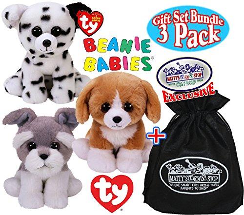 Ty Beanie Babies Dogs Franklin, Harper & Catcher Gift Set Bundle with Bonus Matty's Toy Stop Storage Bag - 3 Pack (Beanie Baby Dog Set)