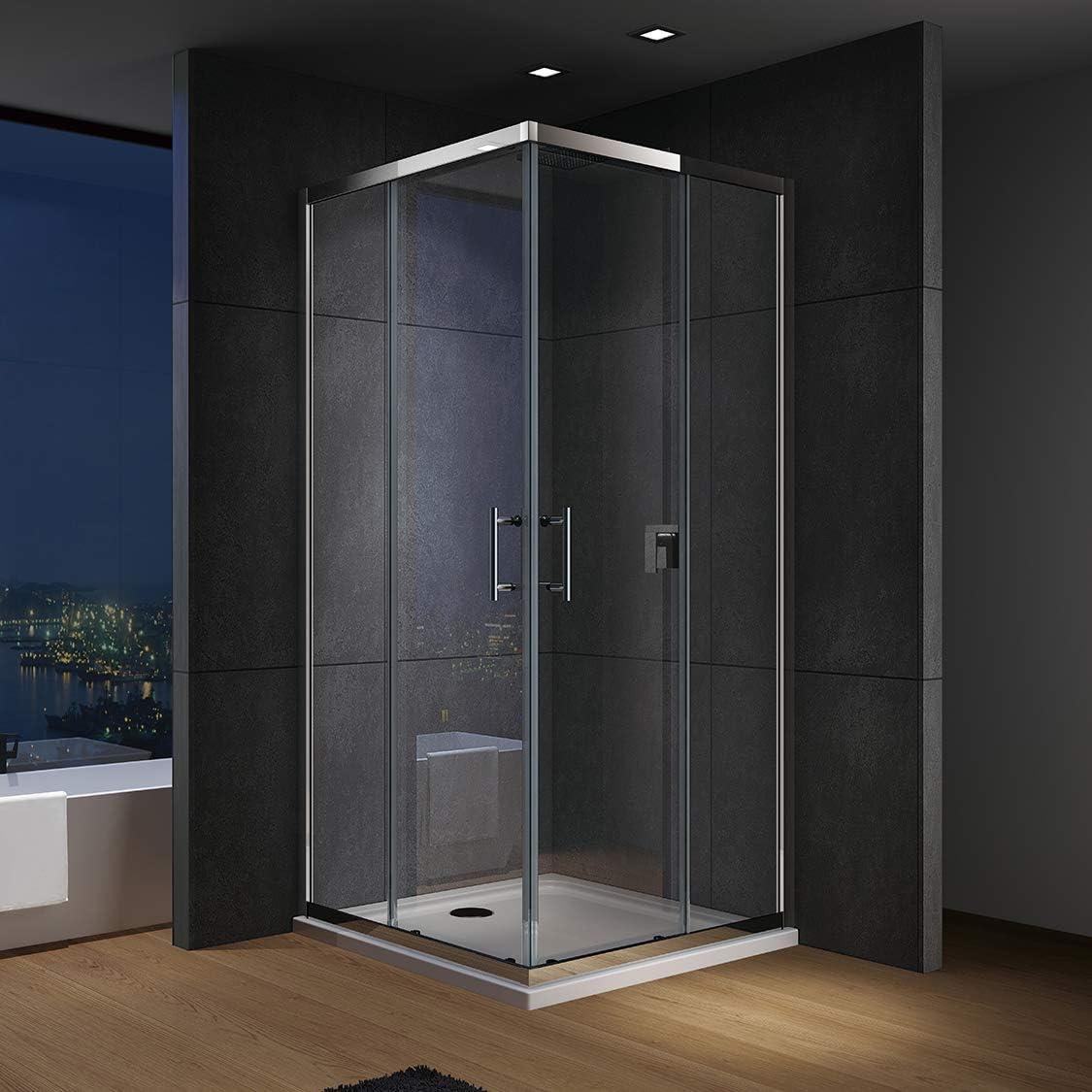 IMPTS - Cabina de ducha, puerta corredera, ducha de esquina, mampara de ducha, puerta de ducha, vidrio templado de 6 mm con nanorevestimiento, Plateado: Amazon.es: Bricolaje y herramientas